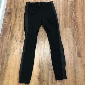 J.crew black leather trim legging